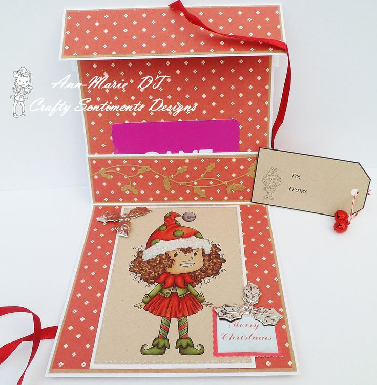 A gift card holder made using Crafty Sentiments Designs 'my Christmas helper' image