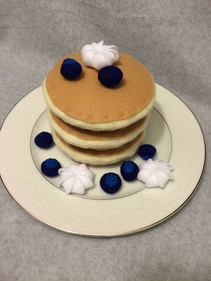 Felt Blueberry Pancake Play Food Set by CutesyKats on Etsy