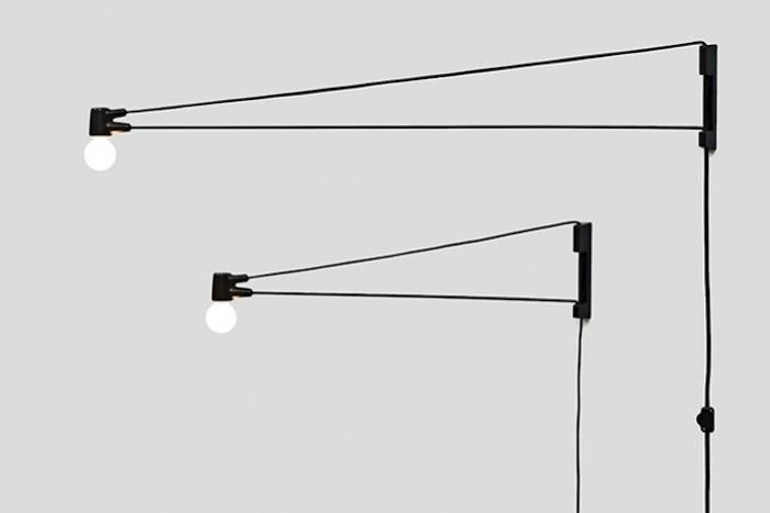 An evolutionary descendant of Jean Prouve's Swing Jib Lamp, the Cord Lamp is simple in construction but its elements are fully utilized. The cloth electric