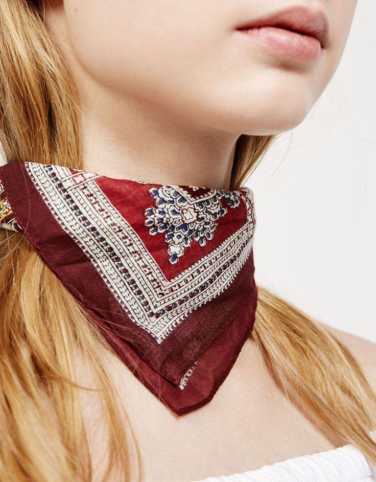 Burgundy bandana scarf - Accessories - Bershka United Kingdom