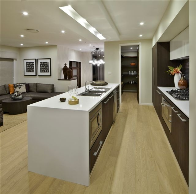 Gallery kitchen with butler pantry