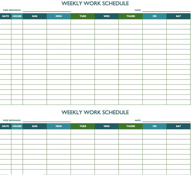 free weekly work schedule template