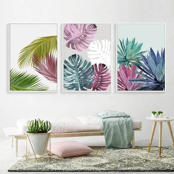 Colorful Leaves Wall Art Prints Wall Art Canvas Painting Leaf Wall Art Wall Art Living Room
