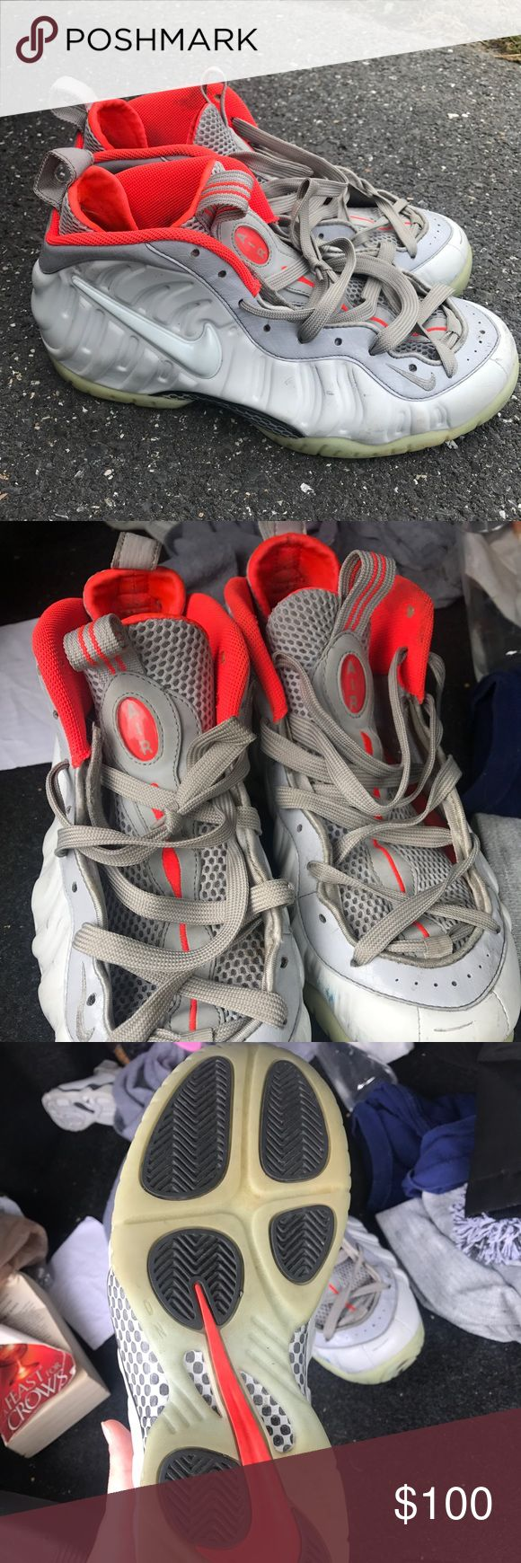 """Foamposites Foamposite pro """"pure platinum"""" Orange and grey foams that glow in the dark. Pre loved and price reflects that but still probably 7/10 condition. Fee free to ask questions. First picture is an actual picture outside in natural lighting with no filter. Nike Shoes Sneakers"""