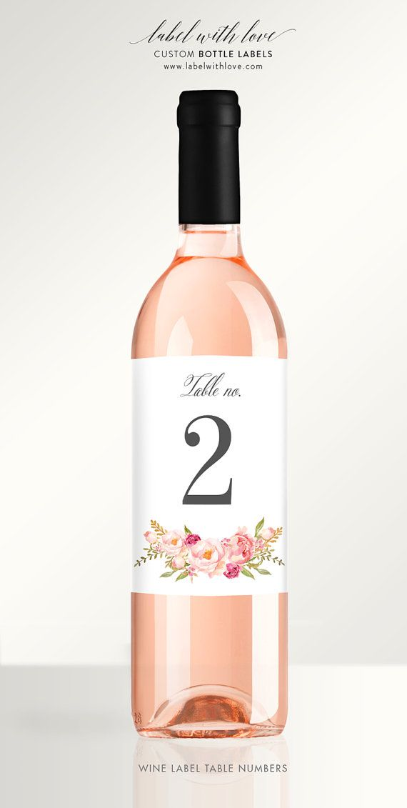 Watercolor Floral Wine Labels Table Numbers. Perfect for a rustic weddings, events, and social gatherings. Wine Bottle Labels  by LabelWithLove