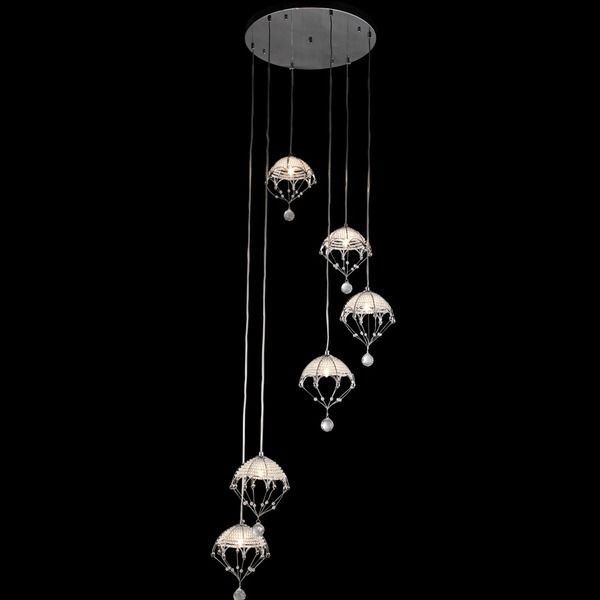 Cnidaria II Chrome And Crystal Cascading Chandelier By Warehouse Of Tiffany