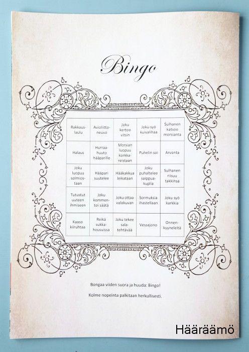 """Hääbingo. Bongaa viiden suora ja huuda """"Bingo!"""""""