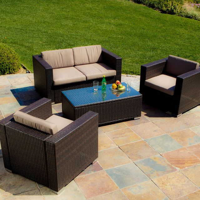 Westlake Brown Wicker 4pc Outdoor Sofa Set tropical-patio-furniture-and-outdoor-furniture