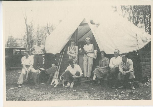 People camping in a shack tent at Waskesiu in Prince Albert National Park circa 1930s. Photo via @Kendra Lane History Online.