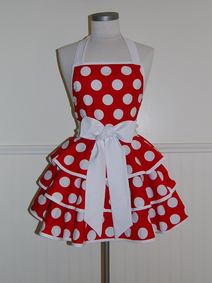 ***NEW*** Red and White Polka Dots 3 Tier Circle Skirt Apron by CRACKERJACK COUNTY. $42.00 via Etsy