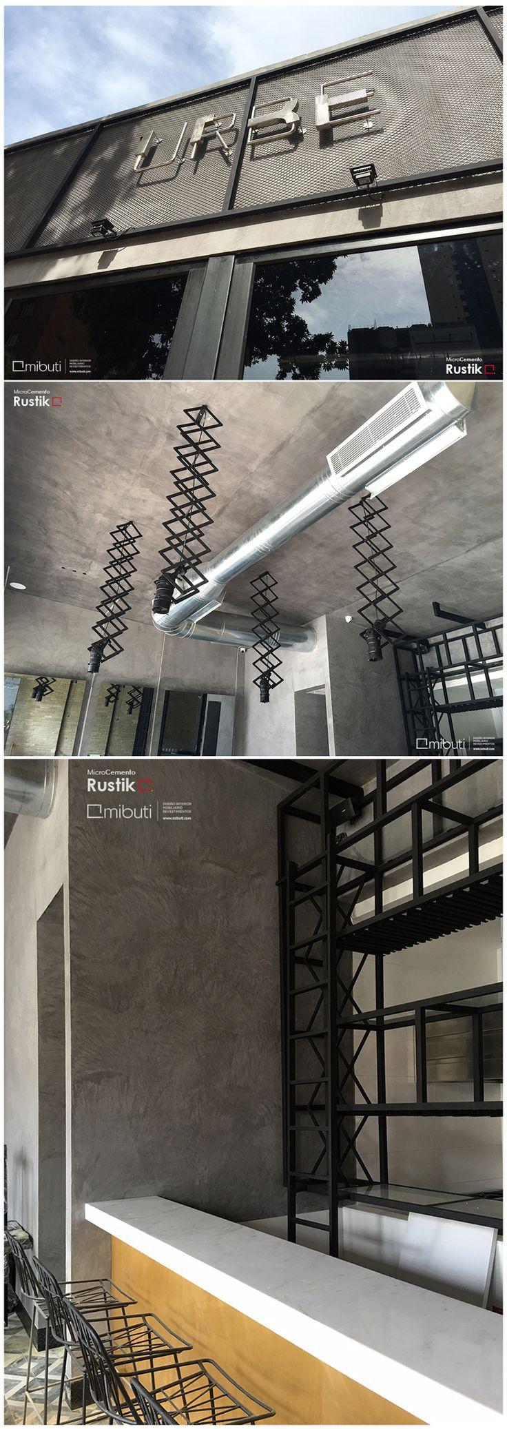 ¡Espacios con un look industrial! U R B E  #resturant #bar en #barranquilla #MicroCemento #Rustik color tempestad #fachada #techos #paredes #revestimientos #interiorismo #diseñointerior #espacios #pared #revestimiento #industrial #Mibuti