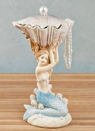 Mermaid Figurine with Fillable Shell $34.99 wwwmermaidhomedecor.com