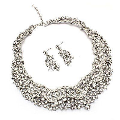 """Bridal Wedding Jewelry Set Crystal Rhinestones Stunning Bib Necklace Silver Accessoriesforever. $49.50. Dimensions (Size): Necklace: 16"""" Long + 3"""" extension (Lobster Claw Closure); Earrings: Approx. 1.75"""" Drop x 0.75""""W (Post Back Closure). Color: Silver, Clear. Nickel / Lead Compliant. Material: Clear Crystal Stones, Metal Casting, Rhodium / Silver Plated. Style: Bib, Choker, Prong Set"""