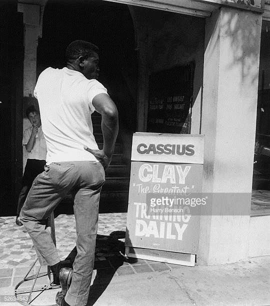 American boxer Cassius Clay during training for his World Heavyweight Boxing Championship fight against Sonny Listen at Miami Beach Florida 17th...