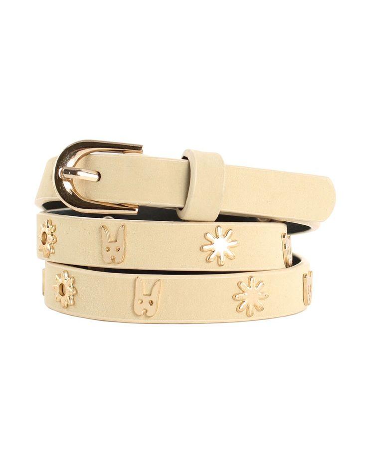 Critter Studded Leather Belt in Cream - Karen Walker - Shop by Designer