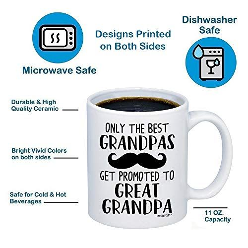 2b8898cc5ee MyCozyCups Baby Reveal Gift For Grandpa - Only The Best Grandpa Get Promoted  To Great Grandpa Coffee Mug - Cute 11oz Cup For New Mom Pregnancy Surprise  ...