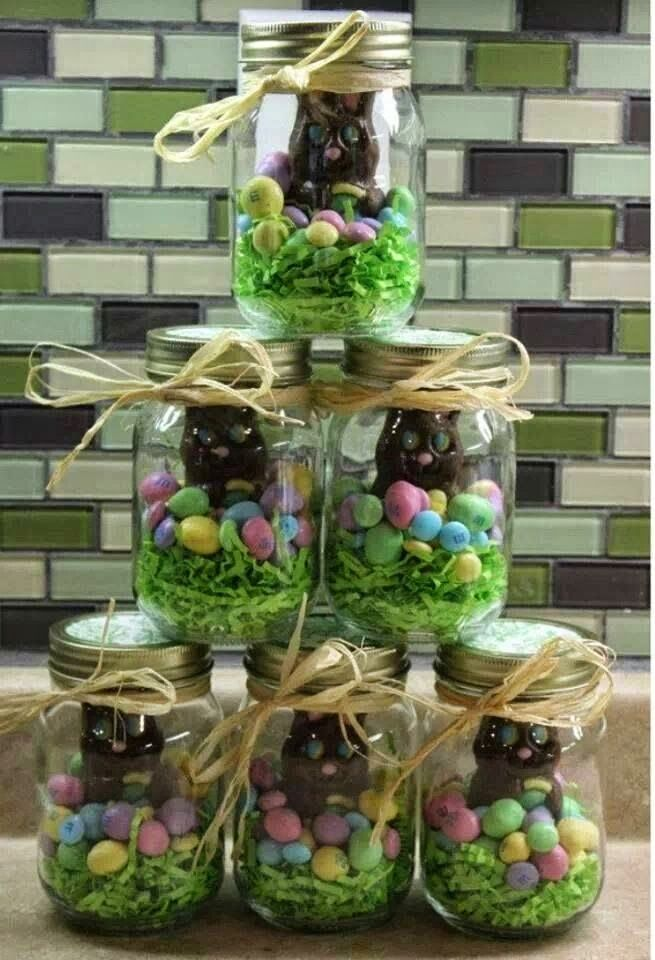 Great Easter gifts for grandchildren. Can put colored Krispie treats in bottom or use colored coconut in the bottom.