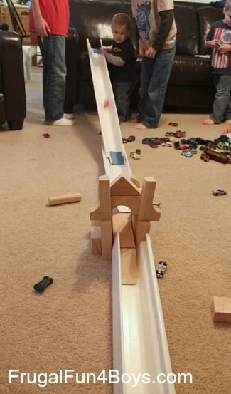 Build your own race track for Hot Wheels cars out of rain gutters.  This is a great boredom buster!