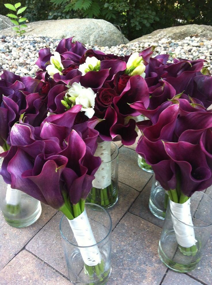 Wine colored wedding, purple calla lilies, baccara roses, white freesia, all calla lily bouquet, plum wedding, fall wedding, winter wedding, summer wedding