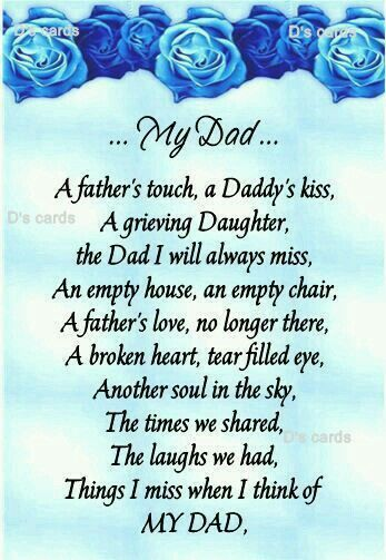 happy fathers day to my dad in heaven poems