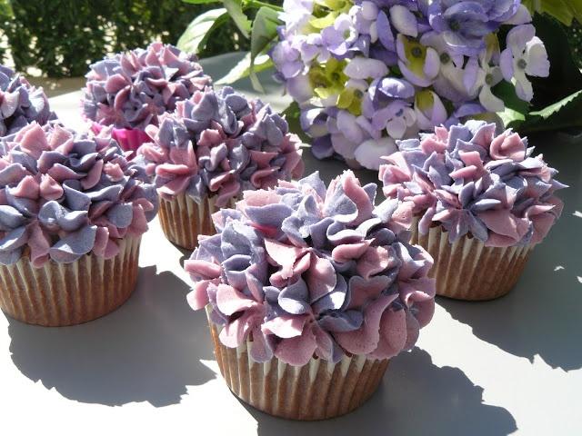 Cupcakes de hortensias