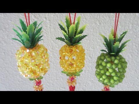 CNY TUTORIAL NO. 36 - Bead Craft (Hanging Pineapple) - YouTube