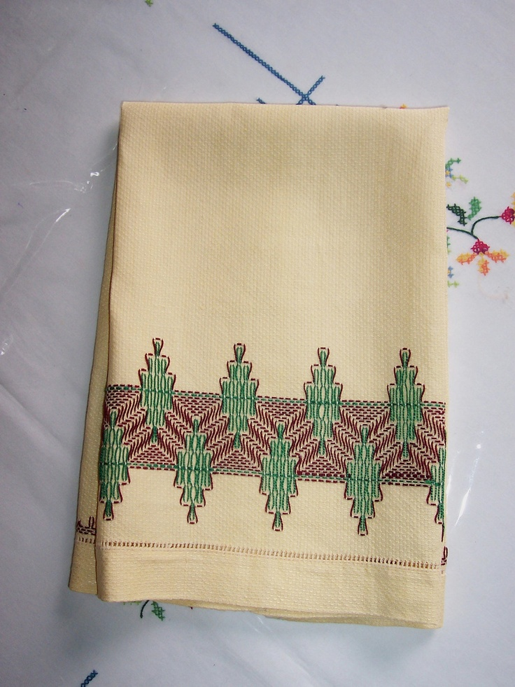 Vintage Linen Tea Towel Embroidered Stitched Hand Towel