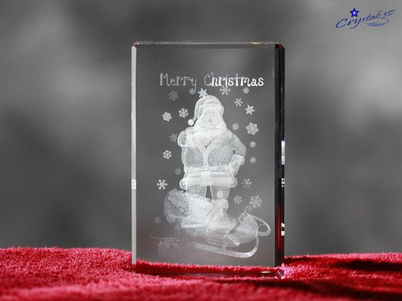 Santa in Crystal Santa with sleigh by Crystals3DEngraving on Etsy
