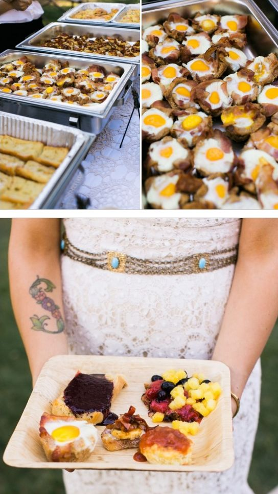 A bacon-and-eggs breakfast buffet for morning ceremonies: | 23 Brilliant Wedding Wedding Bars From Couples Who Dared To Dream