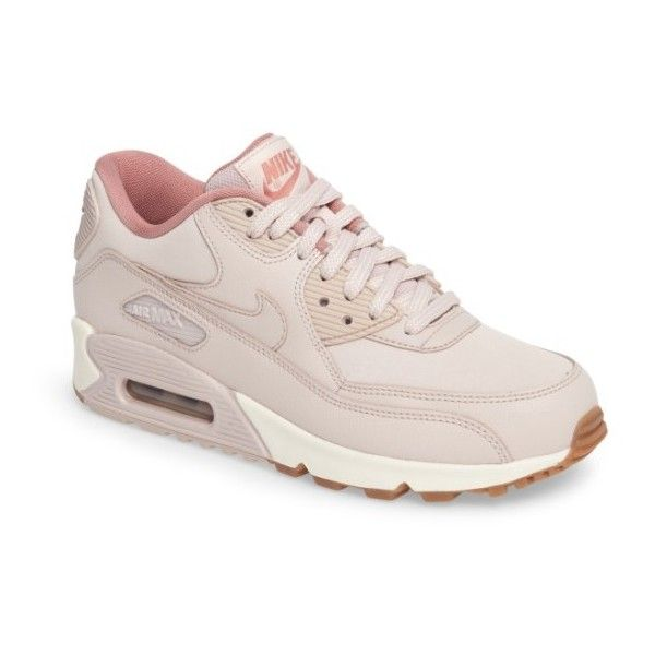 Women's Nike Air Max 90 Sneaker ($130) ❤ liked on Polyvore featuring shoes, sneakers, pink, nike shoes, nike footwear, pink sneakers, nike sneakers and nike