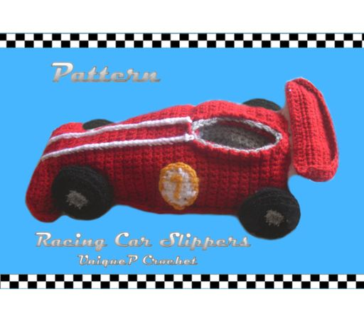 Men slippers crochet pattern- inspired from Formula cars ...