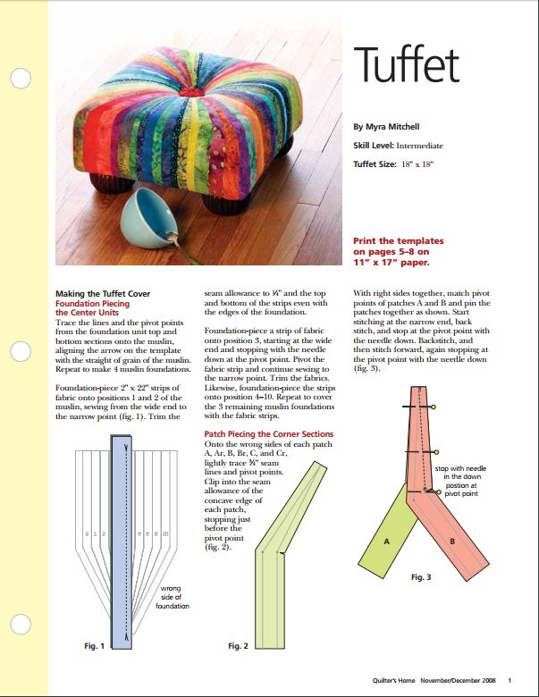 complete pattern & instructions for a square tuffet from Quilter's Home Nov/Dec 2008.