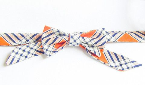 Orange and Navy Tartan - Handmade Sailor Tie