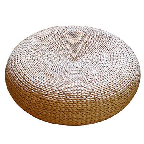 Handcrafted Eco Friendly Breathable Padded Knitted Straw Flat Seat Cushion Futon Diameter