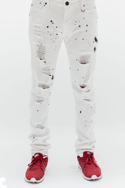 White Destroyed Paint Splatter Jeans