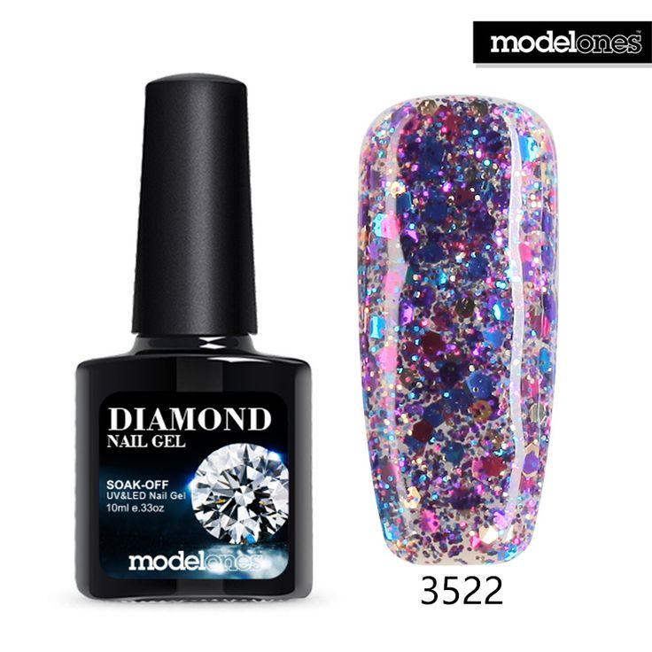 Modelones Professionelle UV Gelpolish Diamant Glitter UV Nagellack Nail art Maniküre UV Nagelgelpoliermittel Tränken Weg Pailletten Gel