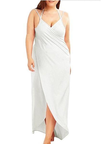 3a2638832a1b2 White Draped Backless Irregular V-neck Spaghetti Strap Plus Size Beach Maxi  Dress