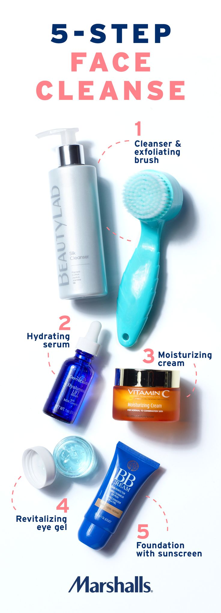 Refresh your beauty routine. Fresh faced in 5 simple steps! 1) Use a silk cleanser and face brush to gently exfoliate your skin. 2) Add hydrating serum. 3) Use moisturizing cream with added Vitamin C. 4) Apply revitalizing eye gel to diminish dark circles and puffiness. 5) Finally, for a healthy glow that protects your skin, add foundation with built-in sunscreen! Visit Marshalls today to build your new beauty routine!