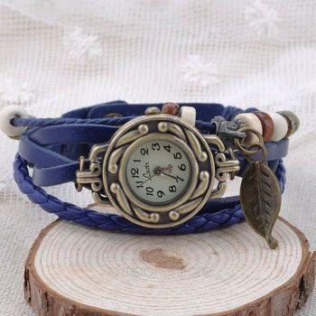 Tree leaf Pendant Leather Bracelet Wrap Wrist Watch by SaltLily on Etsy