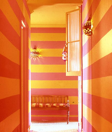 Great example of fool the eye. Stripes of gilded tangerine and yellow paint  used to define a narrow hall.Muriel Brandolini, Colors Combos, Orange Room, Stripes Wall, Elle Decor, Interiors Design, Wall Treatments, Striped Walls, Design Home