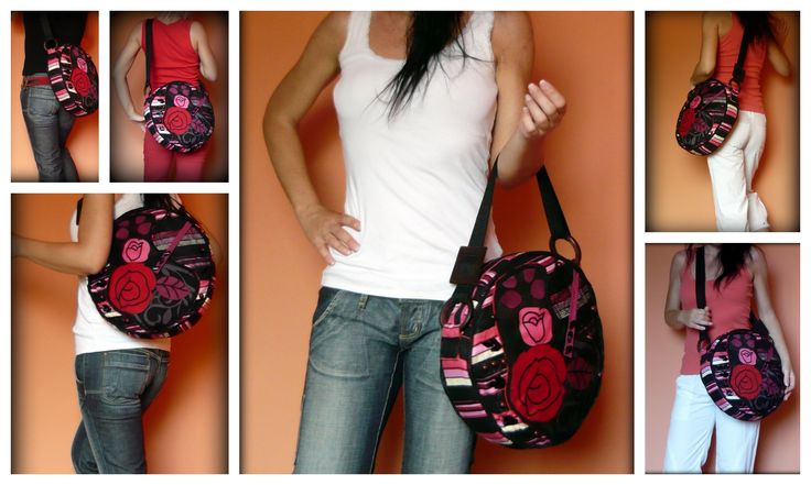 Handmade by Judy Majoros - Pink-red rose round crossbody bag- shoulder bag. Recycled bag