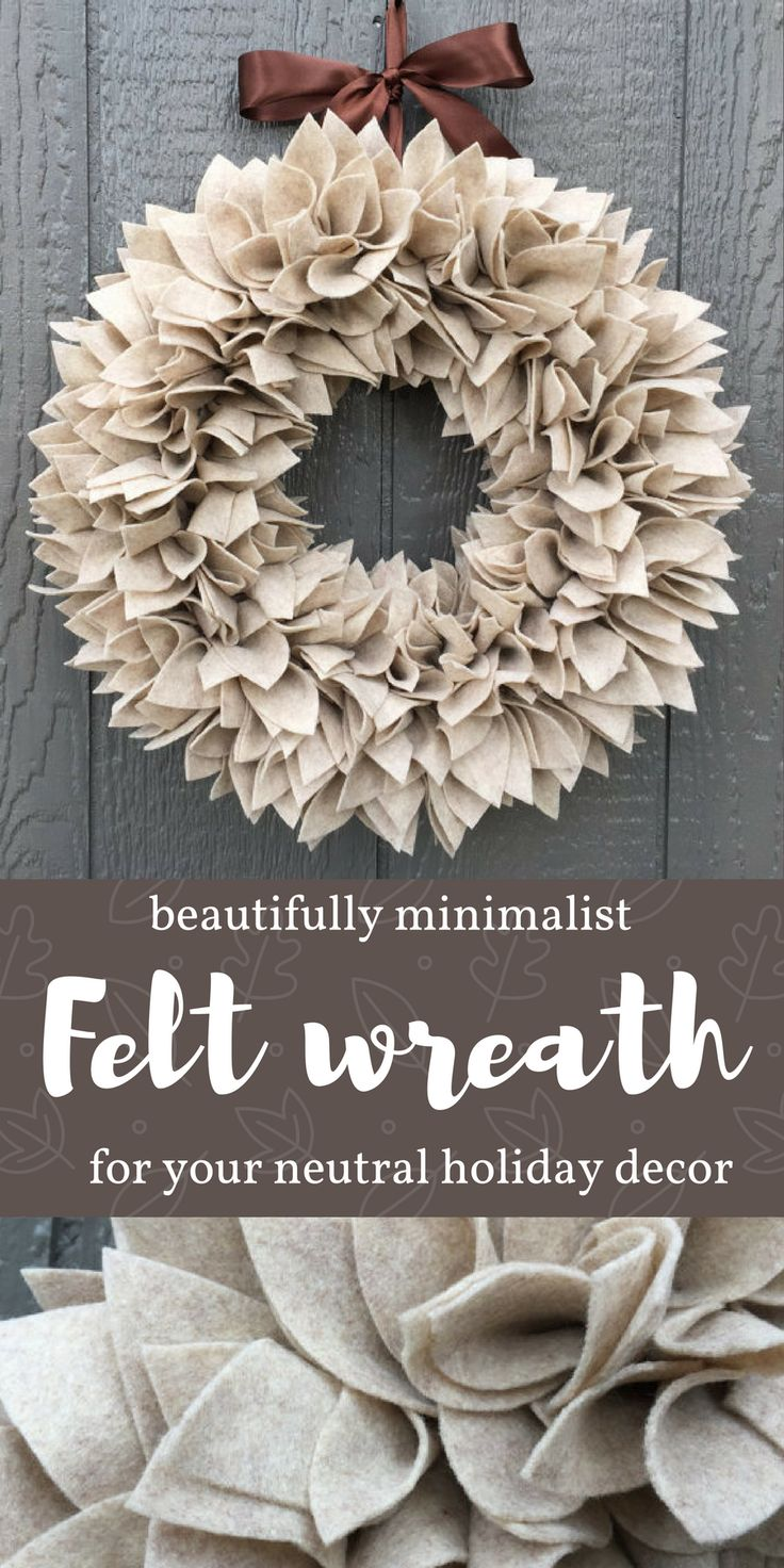 """Oatmeal Cookie"" colored wreath in a soft, neutral shade to adorn your front door this winter or to give as a gift. This wreath also makes a great accent piece for your rustic neutral holiday decor. A rich chocolate brown satin ribbon adds an additional p"