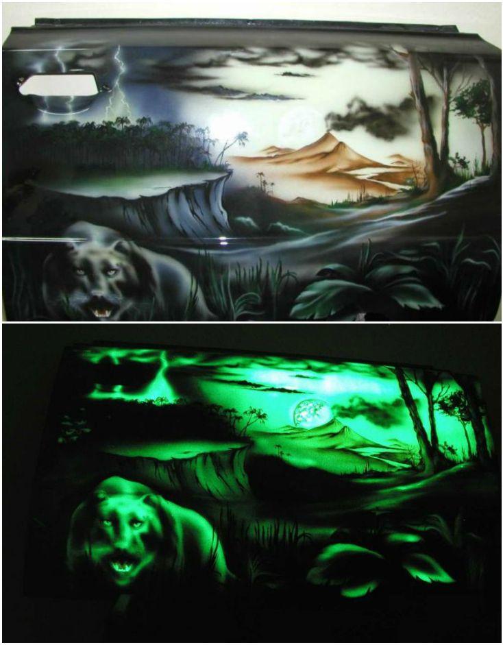 Светящаяся краска для аэрографии на металле. Рисунок на двери автомобиля.*** Luminous paint for airbrushing on the metal. Picture on the car door. #luminous #paint #airbrushing #metal #car
