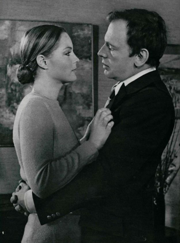 "Romy Schneider and Jean-Louis Trintignant in ""Le mouton enragé"" by Michel Deville, 1973."