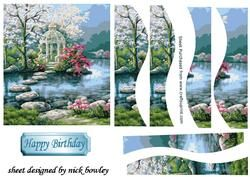 Pretty Japanese Garden with Waterfall Side Wavy Stackers on Craftsuprint - View Now!