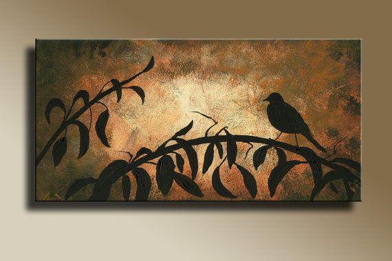 Canvas Print of Original acrylic painting  Night Bird Serenade Wall hanging Decorative Art