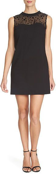 Sleeveless Shift Dress With Velvet-Dot Yoke