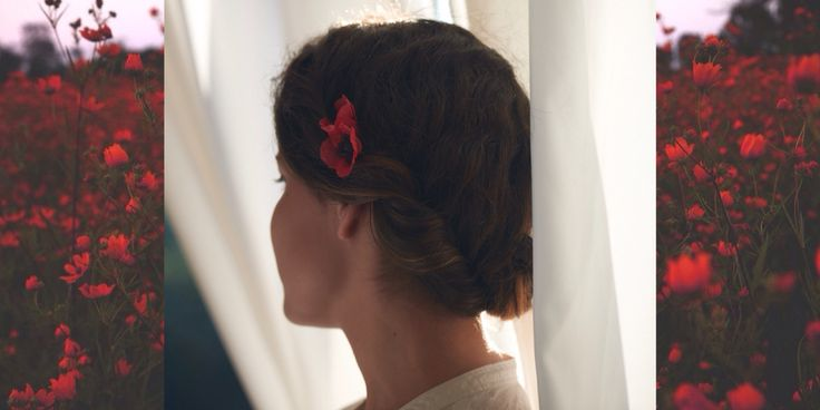 Hairpin with red poppy http://www.livemaster.ru/floride
