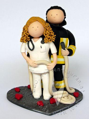 Krankenschwester Feuerwehr Brautpaar von www.tortenfiguren.at - Weddingcake Topper Nurse & Fire Brigade