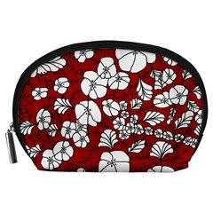 Cvdr0098 Red White Black Flowers Accessory Pouches (Large)  from CircusValley Mall Front